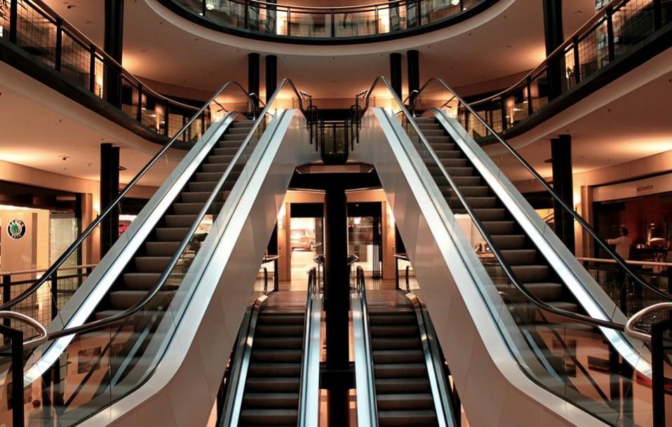 escalator to a modern building